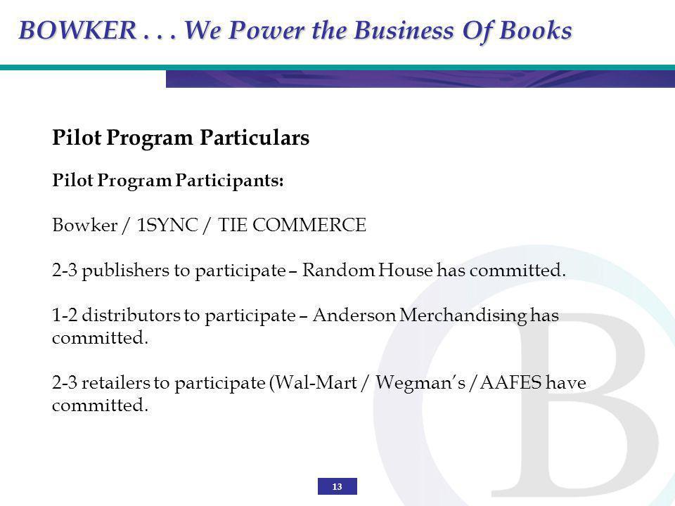 13 Pilot Program Particulars Pilot Program Participants: Bowker / 1SYNC / TIE COMMERCE 2-3 publishers to participate – Random House has committed. 1-2