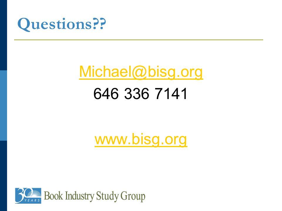 Questions?? Michael@bisg.org 646 336 7141 www.bisg.org