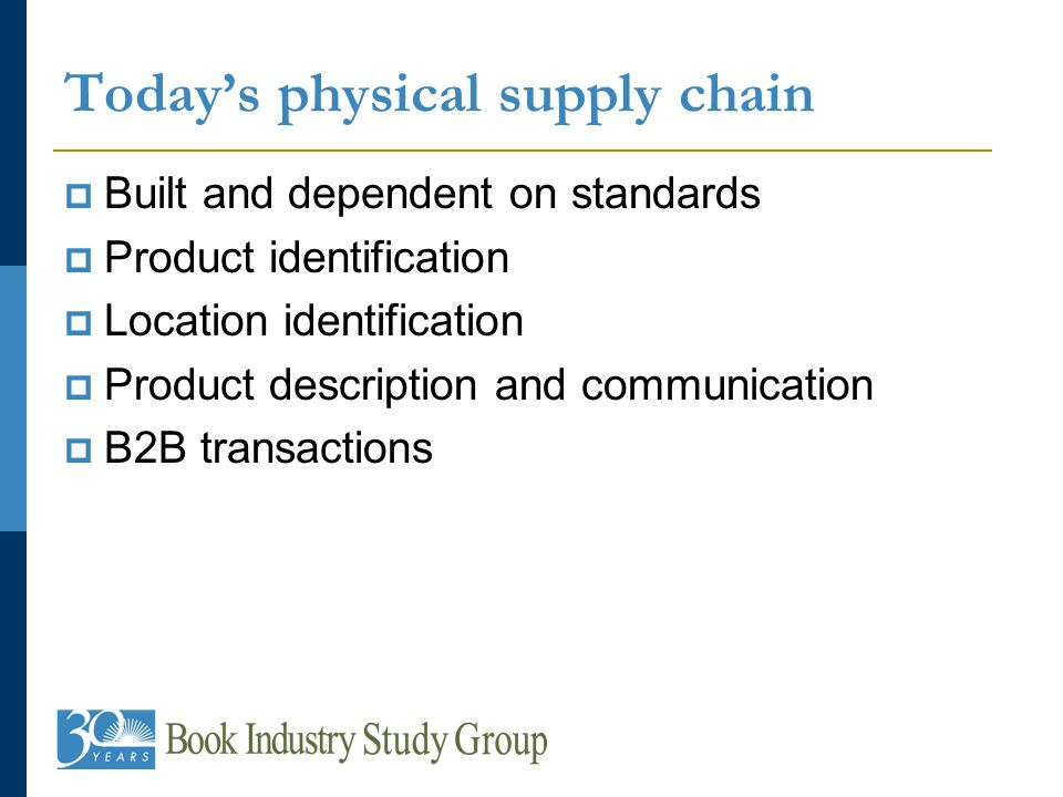 Todays physical supply chain Built and dependent on standards Product identification Location identification Product description and communication B2B transactions