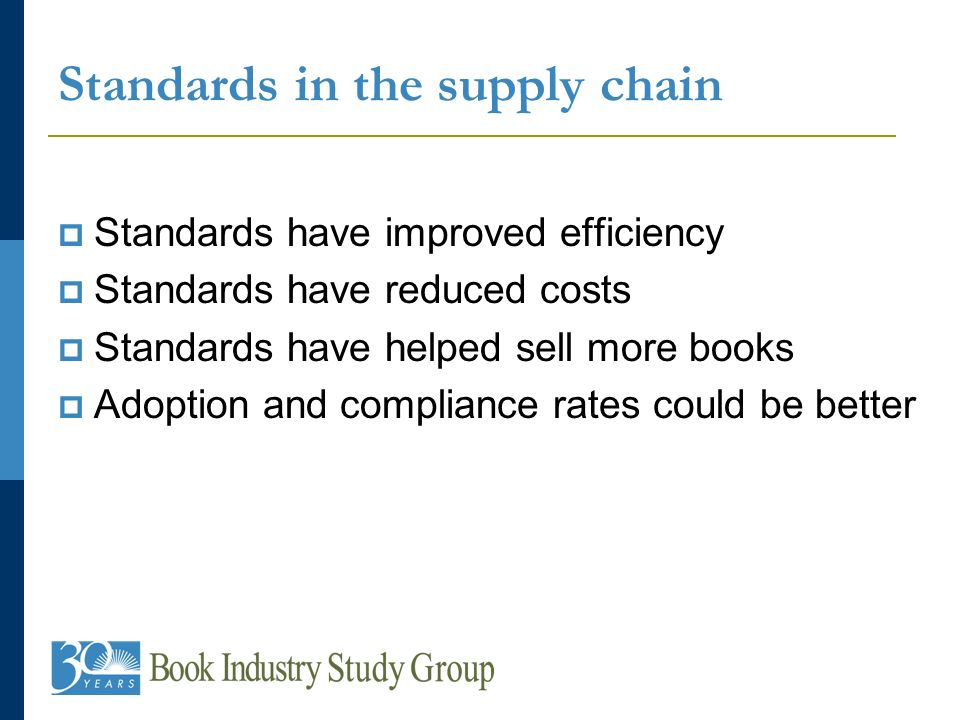 Standards in the supply chain Standards have improved efficiency Standards have reduced costs Standards have helped sell more books Adoption and compliance rates could be better
