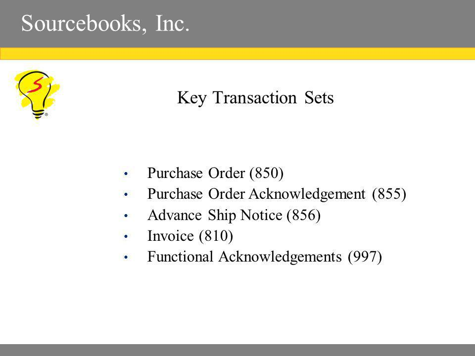 Sourcebooks, Inc. Key Transaction Sets Purchase Order (850) Purchase Order Acknowledgement (855) Advance Ship Notice (856) Invoice (810) Functional Ac