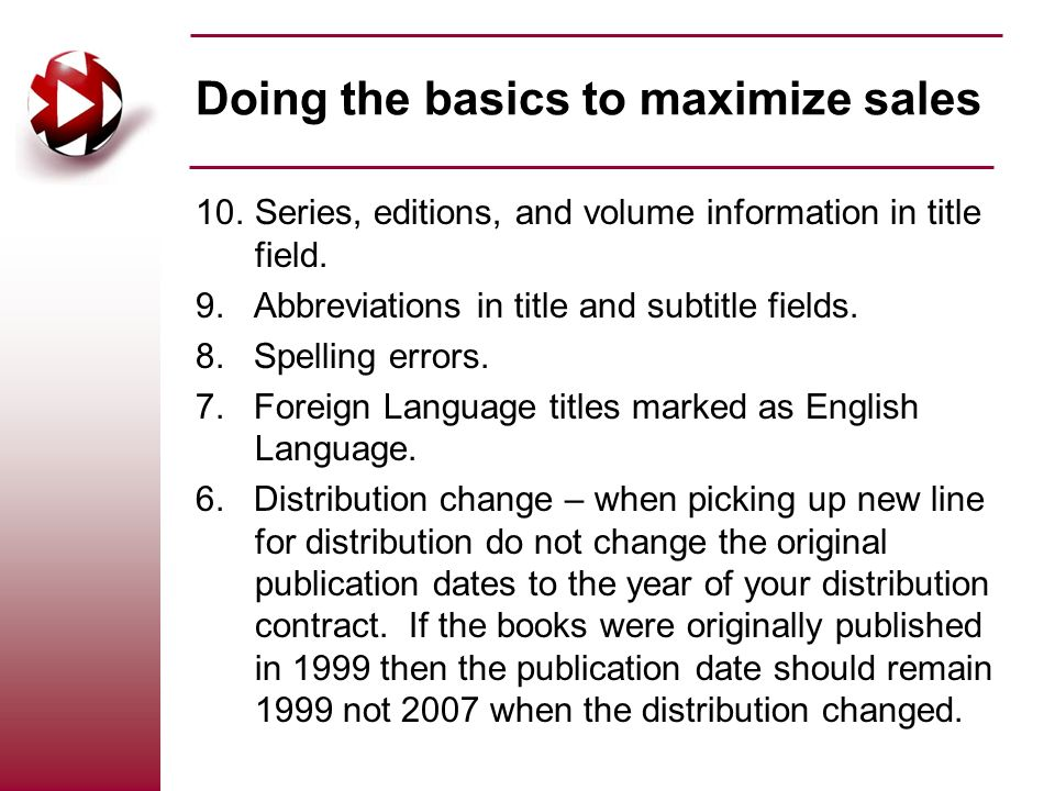10.Series, editions, and volume information in title field.