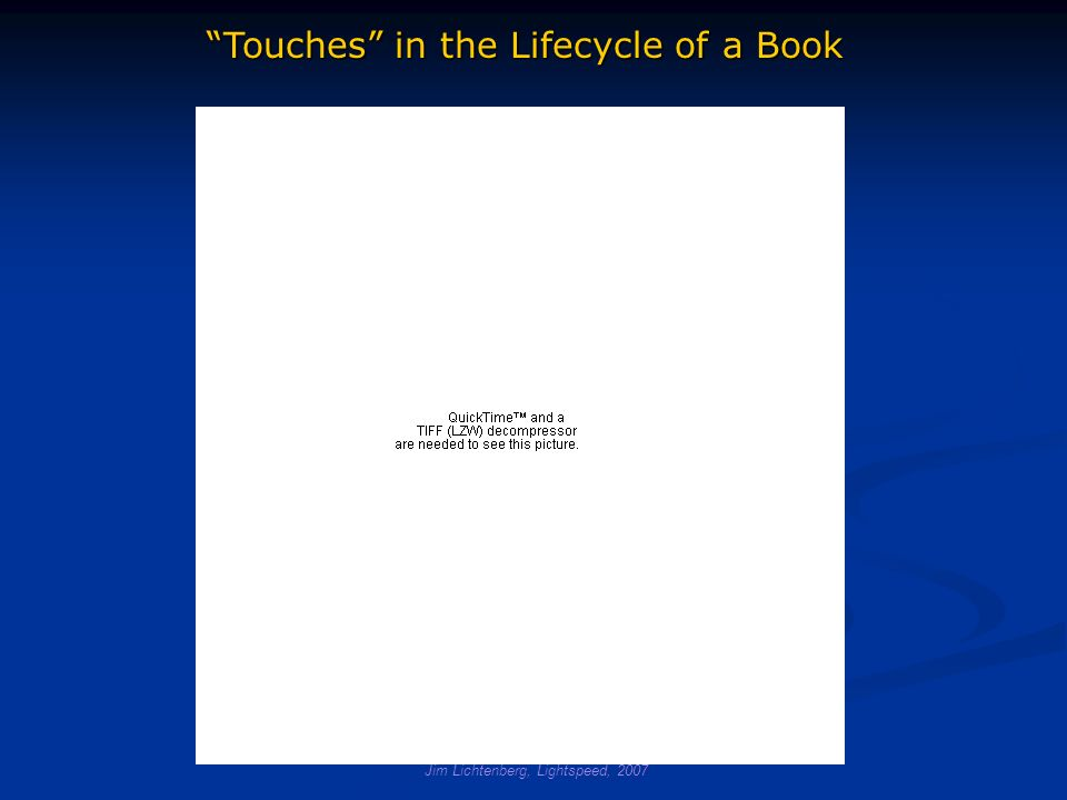 Jim Lichtenberg, Lightspeed, 2007 Touches in the Lifecycle of a Book