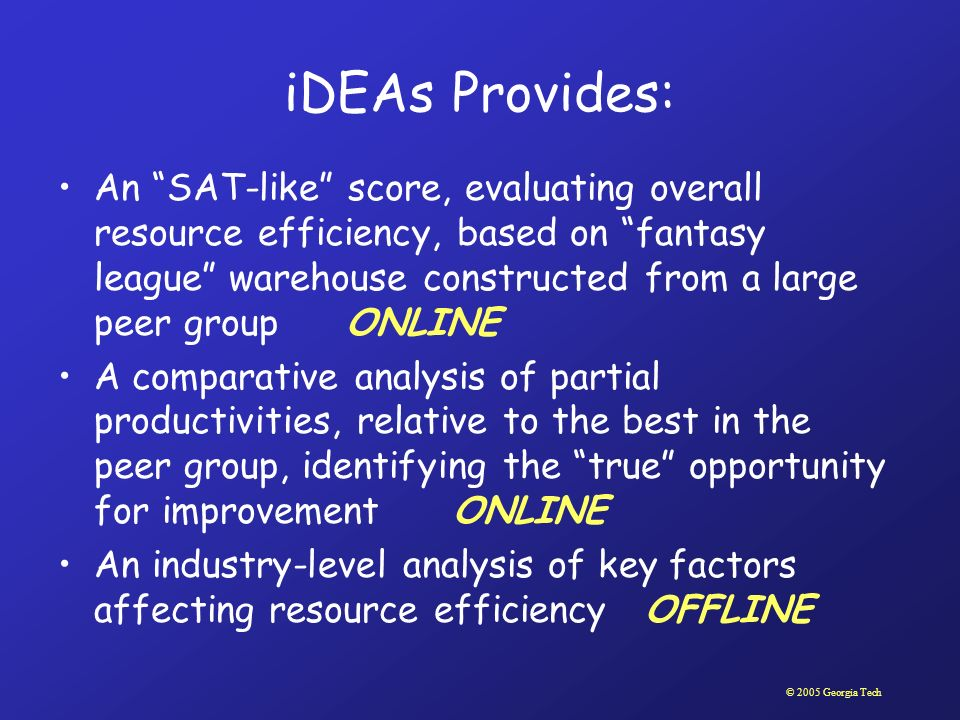 © 2005 Georgia Tech iDEAs Provides: An SAT-like score, evaluating overall resource efficiency, based on fantasy league warehouse constructed from a la