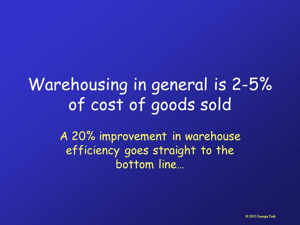 © 2005 Georgia Tech Warehousing in general is 2-5% of cost of goods sold A 20% improvement in warehouse efficiency goes straight to the bottom line…