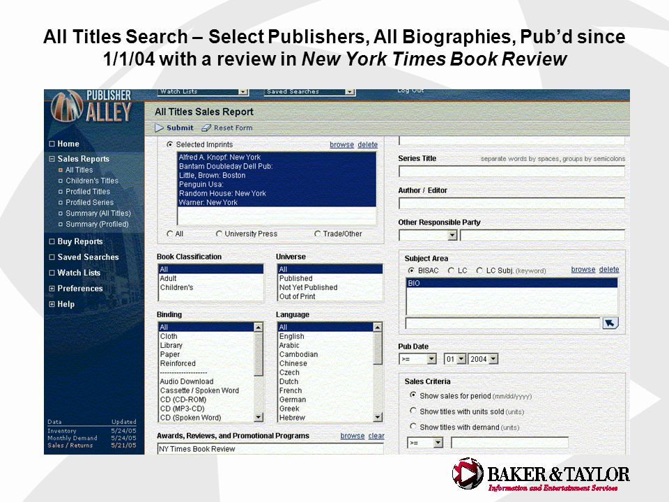 All Titles Search – Select Publishers, All Biographies, Pubd since 1/1/04 with a review in New York Times Book Review