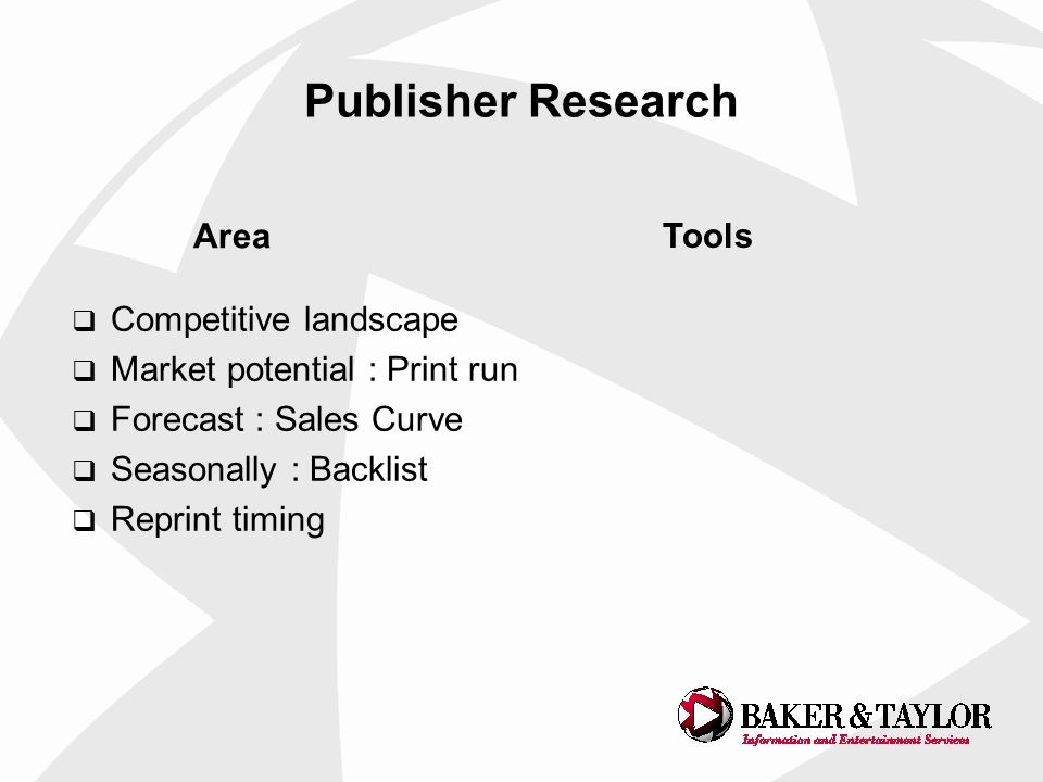 Publisher Research Competitive landscape Market potential : Print run Forecast : Sales Curve Seasonally : Backlist Reprint timing Area Tools