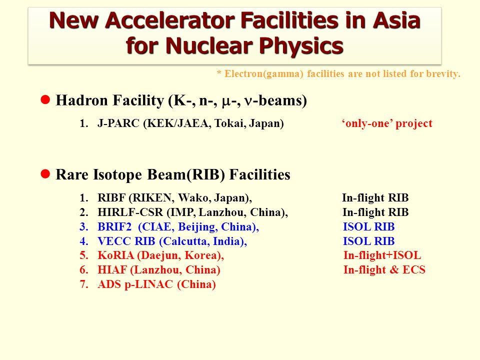 Hadron Facility (K-, n-, -, -beams) Rare Isotope Beam(RIB) Facilities New Accelerator Facilities in Asia for Nuclear Physics 1.J-PARC (KEK/JAEA, Tokai