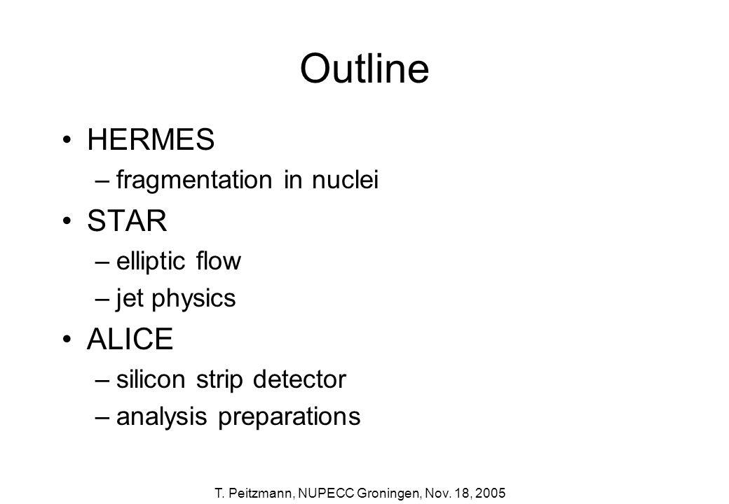 T. Peitzmann, NUPECC Groningen, Nov. 18, 2005 Outline HERMES –fragmentation in nuclei STAR –elliptic flow –jet physics ALICE –silicon strip detector –