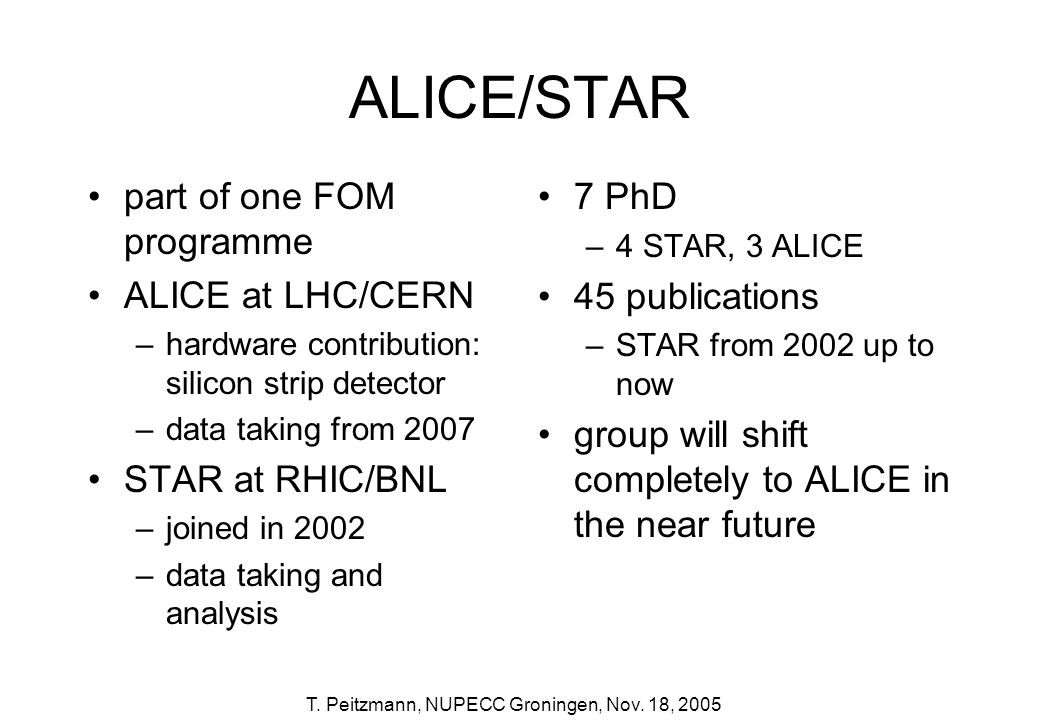 T. Peitzmann, NUPECC Groningen, Nov. 18, 2005 ALICE/STAR 7 PhD –4 STAR, 3 ALICE 45 publications –STAR from 2002 up to now group will shift completely