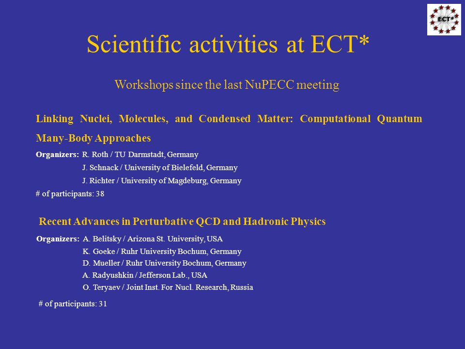 Scientific activities at ECT* Workshops since the last NuPECC meeting Recent Advances in Perturbative QCD and Hadronic Physics Organizers: A.