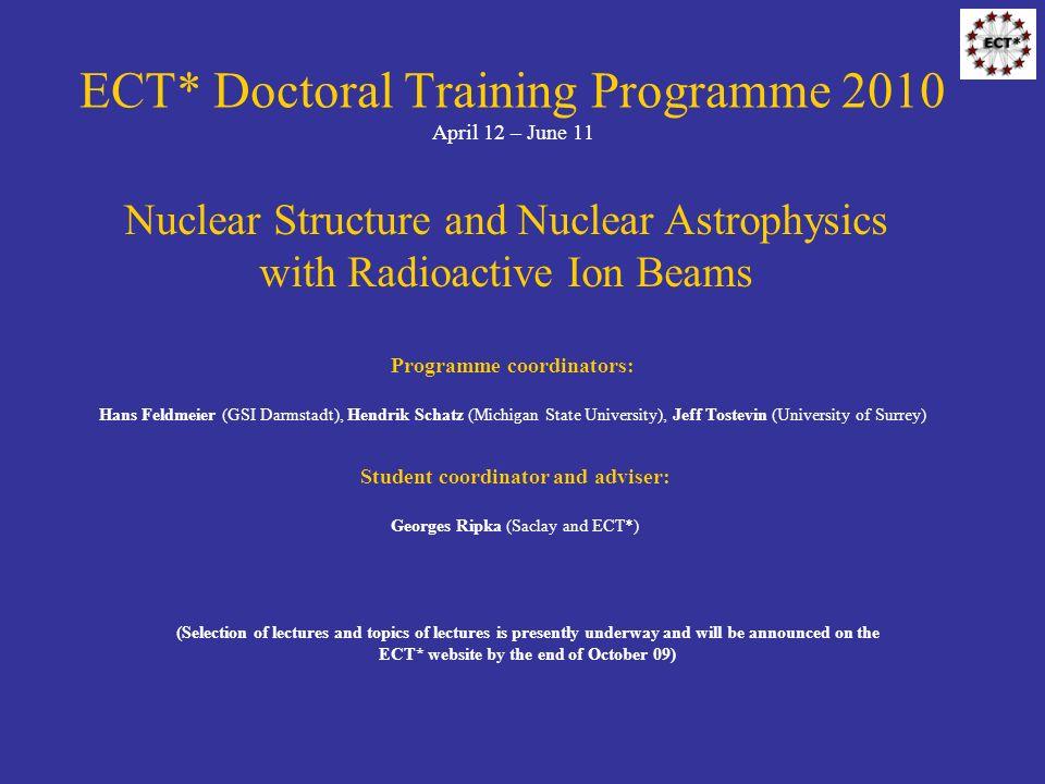 ECT* Doctoral Training Programme 2010 April 12 – June 11 Programme coordinators: Hans Feldmeier (GSI Darmstadt), Hendrik Schatz (Michigan State Univer