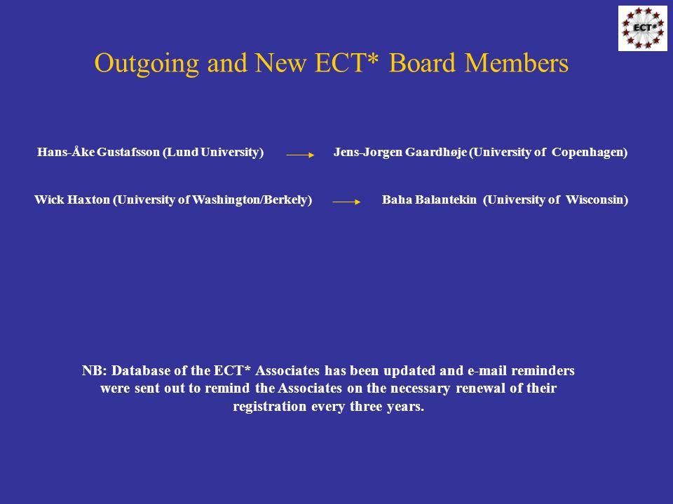 Outgoing and New ECT* Board Members Hans-Åke Gustafsson (Lund University) Jens-Jorgen Gaardhøje (University of Copenhagen) Wick Haxton (University of