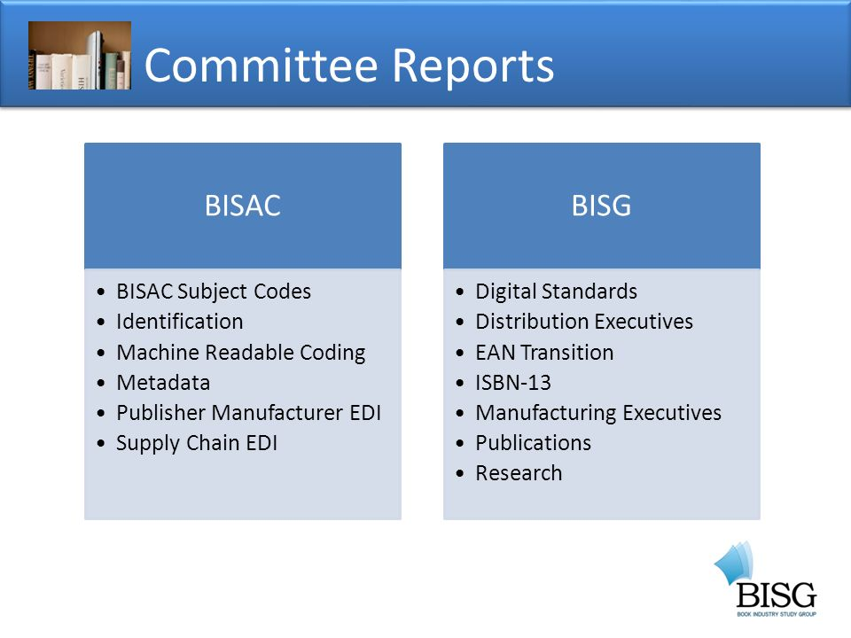 Committee Reports BISAC BISAC Subject Codes Identification Machine Readable Coding Metadata Publisher Manufacturer EDI Supply Chain EDI BISG Digital Standards Distribution Executives EAN Transition ISBN-13 Manufacturing Executives Publications Research