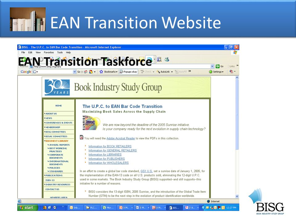 EAN Transition Website EAN Transition Taskforce