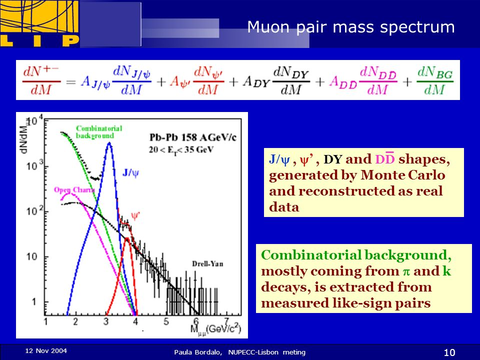 12 Nov 2004 Paula Bordalo, NUPECC-Lisbon meting 10 Muon pair mass spectrum J,, DY and DD shapes, generated by Monte Carlo and reconstructed as real da