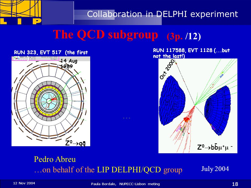 12 Nov 2004 Paula Bordalo, NUPECC-Lisbon meting 18 July 2004 …on behalf of the LIP DELPHI/QCD group Pedro Abreu RUN 323, EVT 517 (the first Z 0... ) Z
