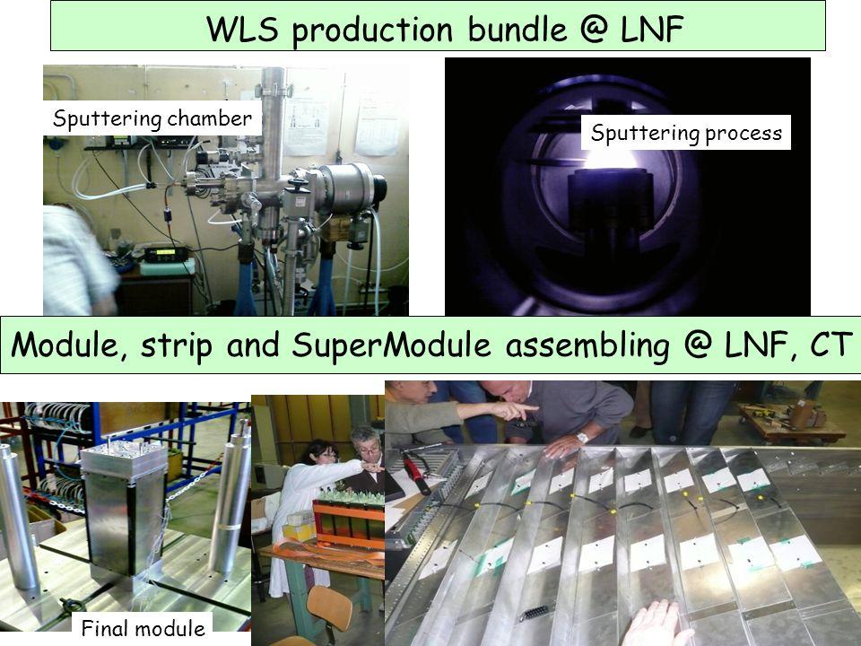WLS production bundle @ LNF Sputtering chamber Sputtering process Module, strip and SuperModule assembling @ LNF, CT Final module