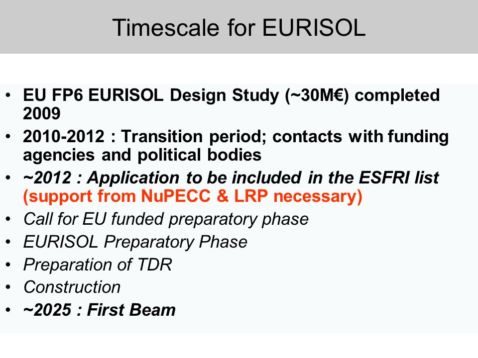 Timescale for EURISOL EU FP6 EURISOL Design Study (~30M) completed 2009 2010-2012 : Transition period; contacts with funding agencies and political bo