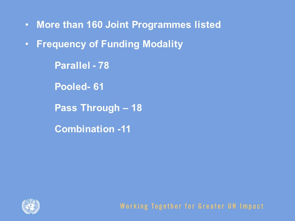 More than 160 Joint Programmes listed Frequency of Funding Modality Parallel - 78 Pooled- 61 Pass Through – 18 Combination -11