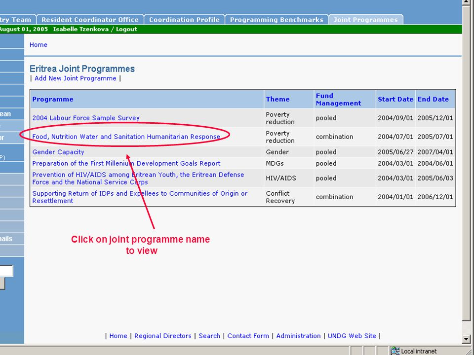 Click on joint programme name to view
