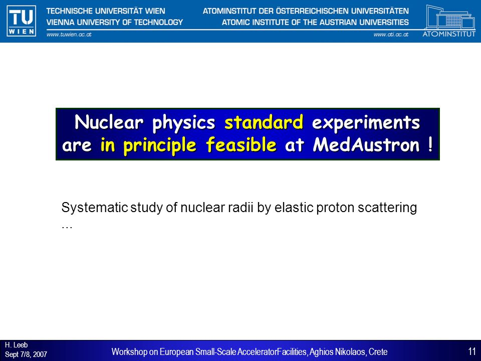 H. Leeb Sept 7/8, 2007 11Workshop on European Small-Scale AcceleratorFacilities, Aghios Nikolaos, Crete Nuclear physics standard experiments are in pr