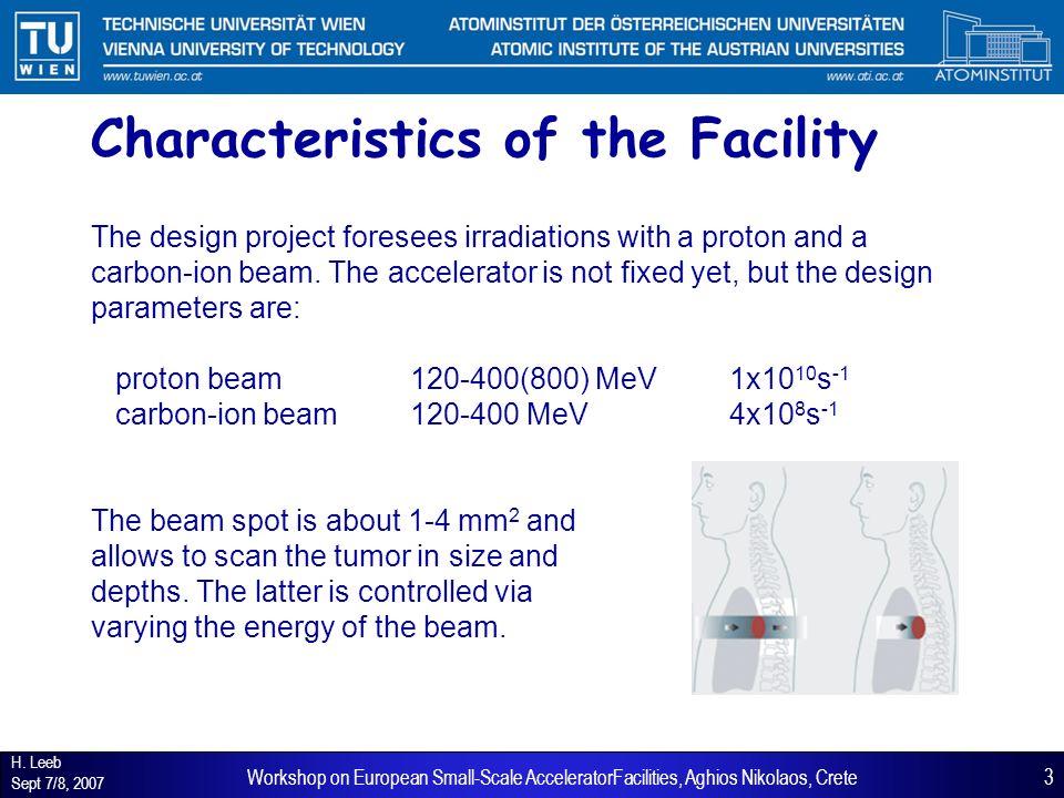 H. Leeb Sept 7/8, 2007 3Workshop on European Small-Scale AcceleratorFacilities, Aghios Nikolaos, Crete Characteristics of the Facility The design proj