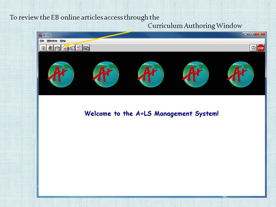 To review the EB online articles access through the Curriculum Authoring Window
