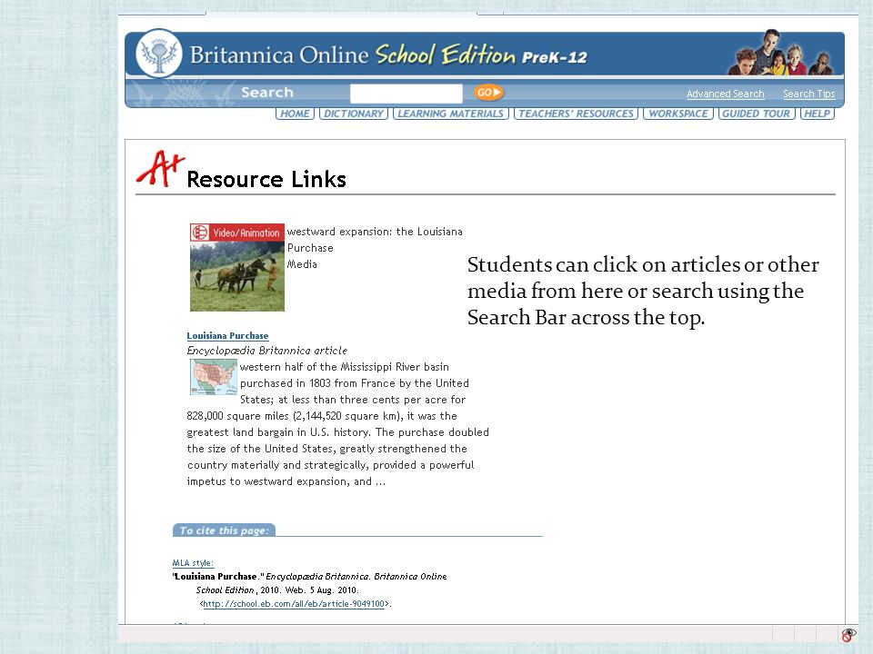 Students can click on articles or other media from here or search using the Search Bar across the top.