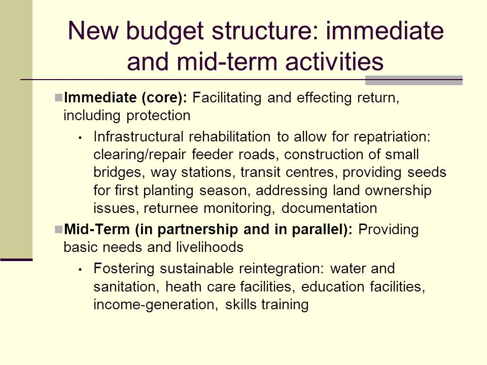 New budget structure: immediate and mid-term activities Immediate (core): Facilitating and effecting return, including protection Infrastructural rehabilitation to allow for repatriation: clearing/repair feeder roads, construction of small bridges, way stations, transit centres, providing seeds for first planting season, addressing land ownership issues, returnee monitoring, documentation Mid-Term (in partnership and in parallel): Providing basic needs and livelihoods Fostering sustainable reintegration: water and sanitation, heath care facilities, education facilities, income-generation, skills training