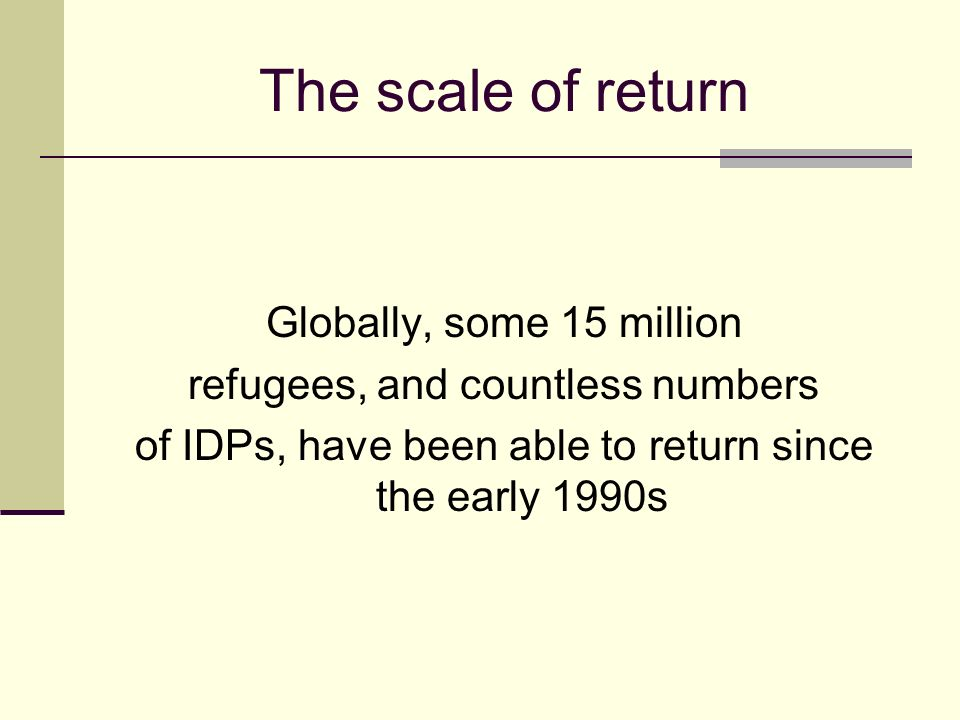 The scale of return Globally, some 15 million refugees, and countless numbers of IDPs, have been able to return since the early 1990s