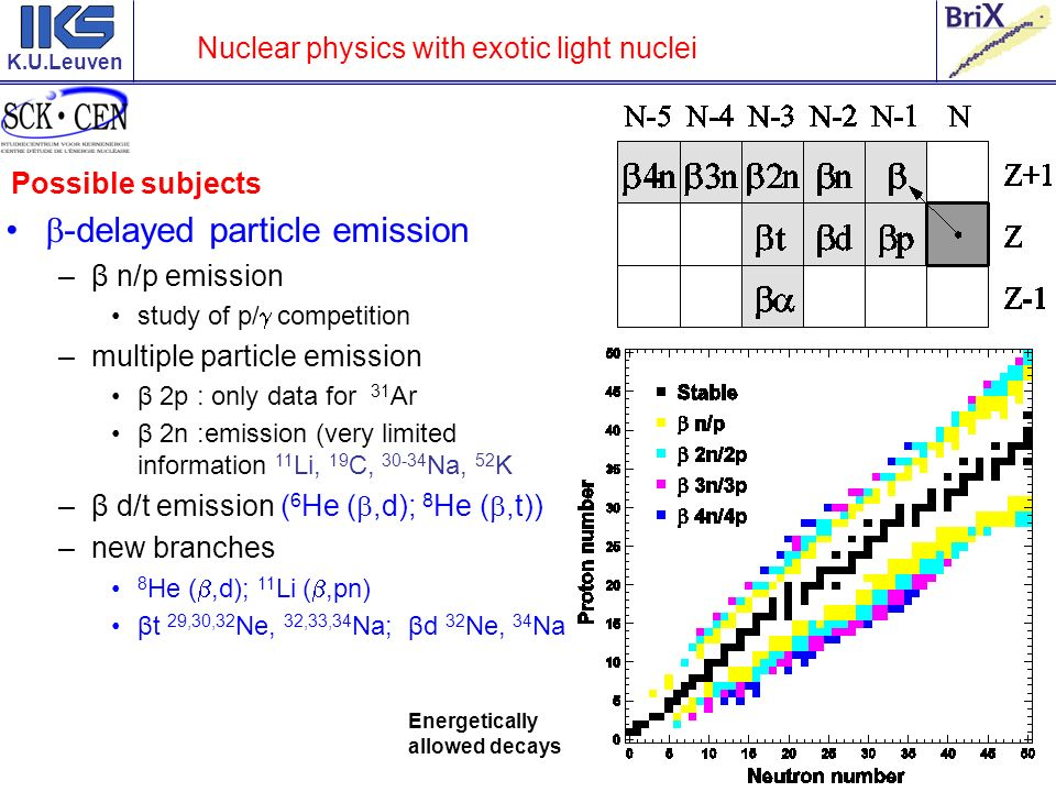 K.U.Leuven Nuclear physics with exotic light nuclei Possible subjects -delayed particle emission –β n/p emission study of p/ competition –multiple particle emission β 2p : only data for 31 Ar β 2n :emission (very limited information 11 Li, 19 C, Na, 52 K –β d/t emission ( 6 He (,d); 8 He (,t)) –new branches 8 He (,d); 11 Li (,pn) βt 29,30,32 Ne, 32,33,34 Na; βd 32 Ne, 34 Na Energetically allowed decays