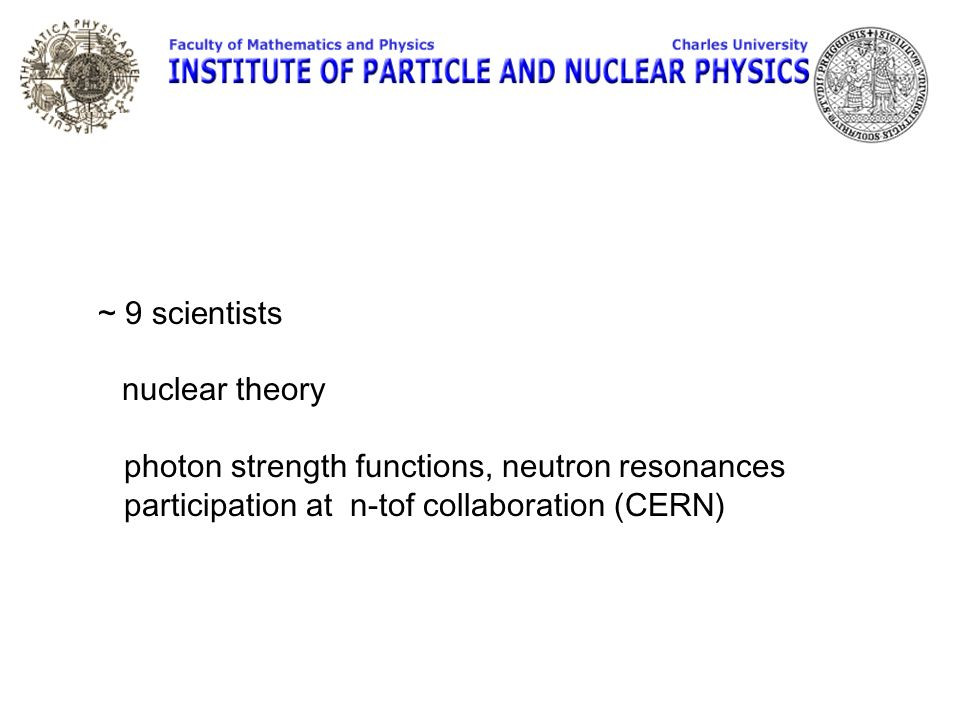 Czech Technical University in Prague Faculty of Nuclear Sciences and Physical Engineering ~ 9 scientists, active in nuclear physics experiments
