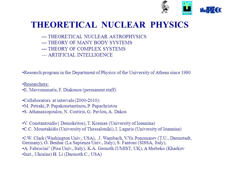 THEORETICAL NUCLEAR PHYSICS Research program in the Department of Physics of the University of Athens since 1980 Researchers: E.