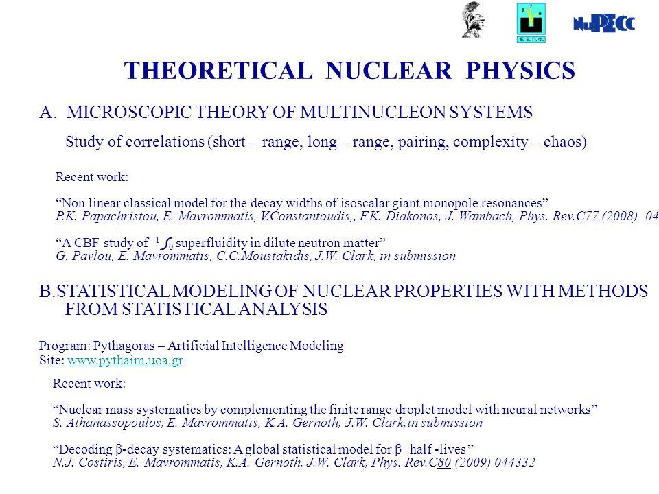 Α. MICROSCOPIC THEORY OF MULTINUCLEON SYSTEMS Study of correlations (short – range, long – range, pairing, complexity – chaos) THEORETICAL NUCLEAR PHY