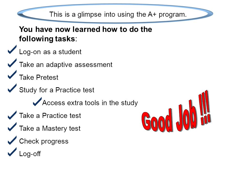 This is a glimpse into using the A+ program.
