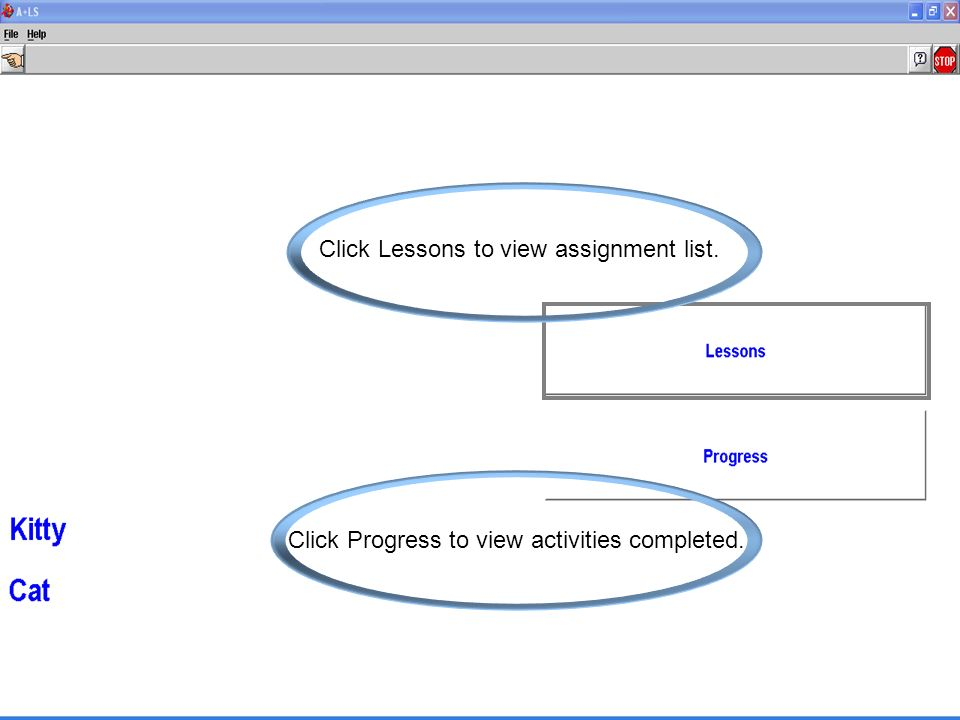 Click Lessons to view assignment list. Click Progress to view activities completed.