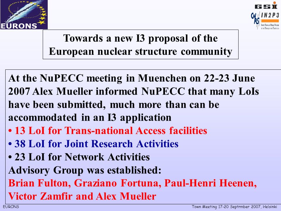 EURONSTown Meeting Septrmber 2007, Helsinki Towards a new I3 proposal of the European nuclear structure community At the NuPECC meeting in Muenchen on June 2007 Alex Mueller informed NuPECC that many LoIs have been submitted, much more than can be accommodated in an I3 application 13 LoI for Trans-national Access facilities 38 LoI for Joint Research Activities 23 LoI for Network Activities Advisory Group was established: Brian Fulton, Graziano Fortuna, Paul-Henri Heenen, Victor Zamfir and Alex Mueller