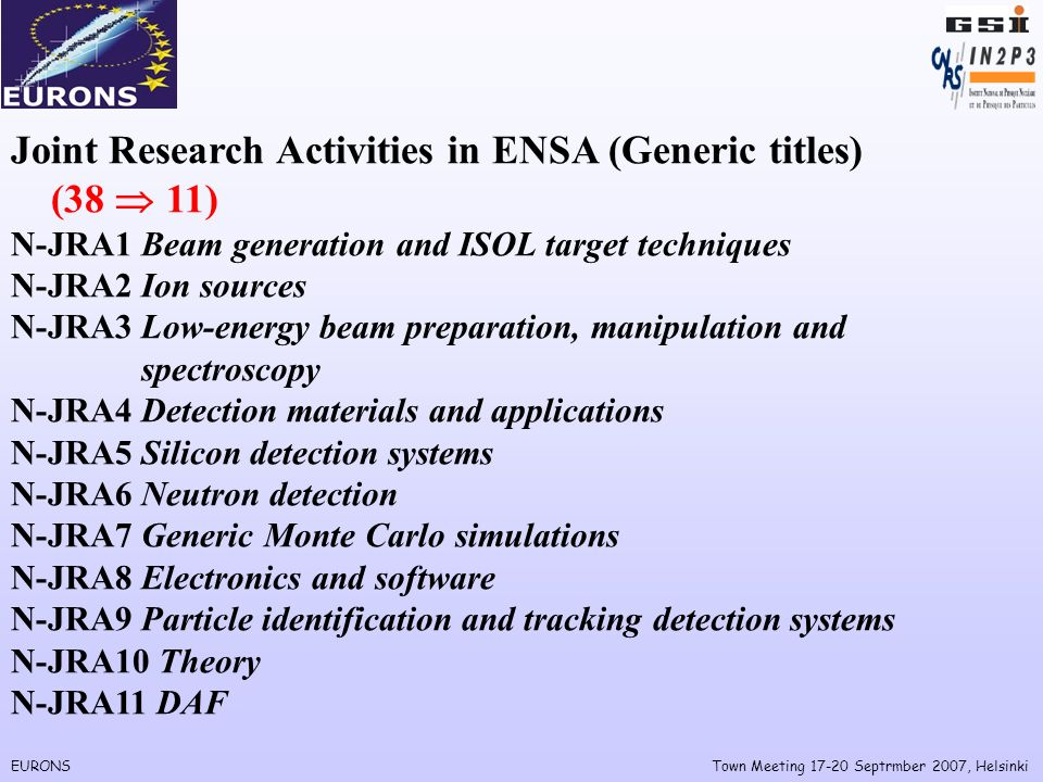 EURONSTown Meeting Septrmber 2007, Helsinki Joint Research Activities in ENSA (Generic titles) (38 11) N-JRA1 Beam generation and ISOL target techniques N-JRA2 Ion sources N-JRA3 Low-energy beam preparation, manipulation and spectroscopy N-JRA4 Detection materials and applications N-JRA5 Silicon detection systems N-JRA6 Neutron detection N-JRA7 Generic Monte Carlo simulations N-JRA8 Electronics and software N-JRA9 Particle identification and tracking detection systems N-JRA10 Theory N-JRA11 DAF