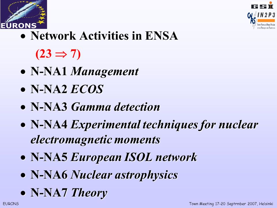 EURONSTown Meeting Septrmber 2007, Helsinki Network Activities in ENSA Network Activities in ENSA (23 7) N-NA1 Management N-NA1 Management N-NA2 ECOS N-NA2 ECOS N-NA3 Gamma detection N-NA3 Gamma detection N-NA4 Experimental techniques for nuclear electromagnetic moments N-NA4 Experimental techniques for nuclear electromagnetic moments N-NA5 European ISOL network N-NA5 European ISOL network N-NA6 Nuclear astrophysics N-NA6 Nuclear astrophysics N-NA7 Theory N-NA7 Theory