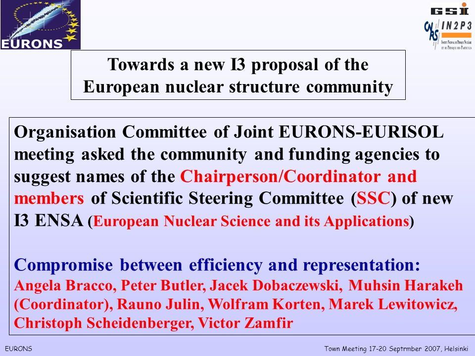 EURONSTown Meeting Septrmber 2007, Helsinki Towards a new I3 proposal of the European nuclear structure community Organisation Committee of Joint EURONS-EURISOL meeting asked the community and funding agencies to suggest names of the Chairperson/Coordinator and members of Scientific Steering Committee (SSC) of new I3 ENSA (European Nuclear Science and its Applications) Compromise between efficiency and representation: Angela Bracco, Peter Butler, Jacek Dobaczewski, Muhsin Harakeh (Coordinator), Rauno Julin, Wolfram Korten, Marek Lewitowicz, Christoph Scheidenberger, Victor Zamfir
