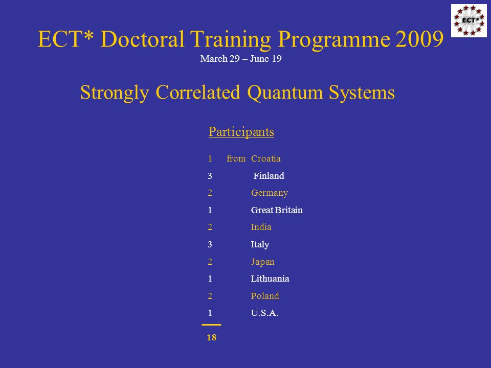 ECT* Doctoral Training Programme 2009 March 29 – June 19 Strongly Correlated Quantum Systems Participants 1 fromCroatia 3 Finland 2 Germany 1 Great Britain 2 India 3 Italy 2 Japan 1 Lithuania 2 Poland 1 U.S.A.