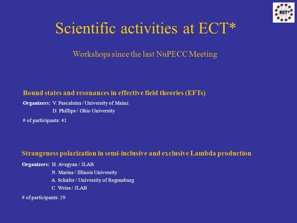 Scientific activities at ECT* Workshops since the last NuPECC Meeting Bound states and resonances in effective field theories (EFTs) Organizers: V. Pa