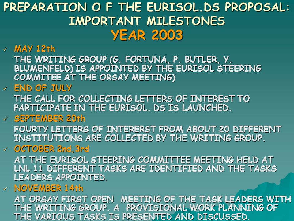 PREPARATION O F THE EURISOL.DS PROPOSAL: IMPORTANT MILESTONES YEAR 2003 MAY 12th MAY 12th THE WRITING GROUP (G.