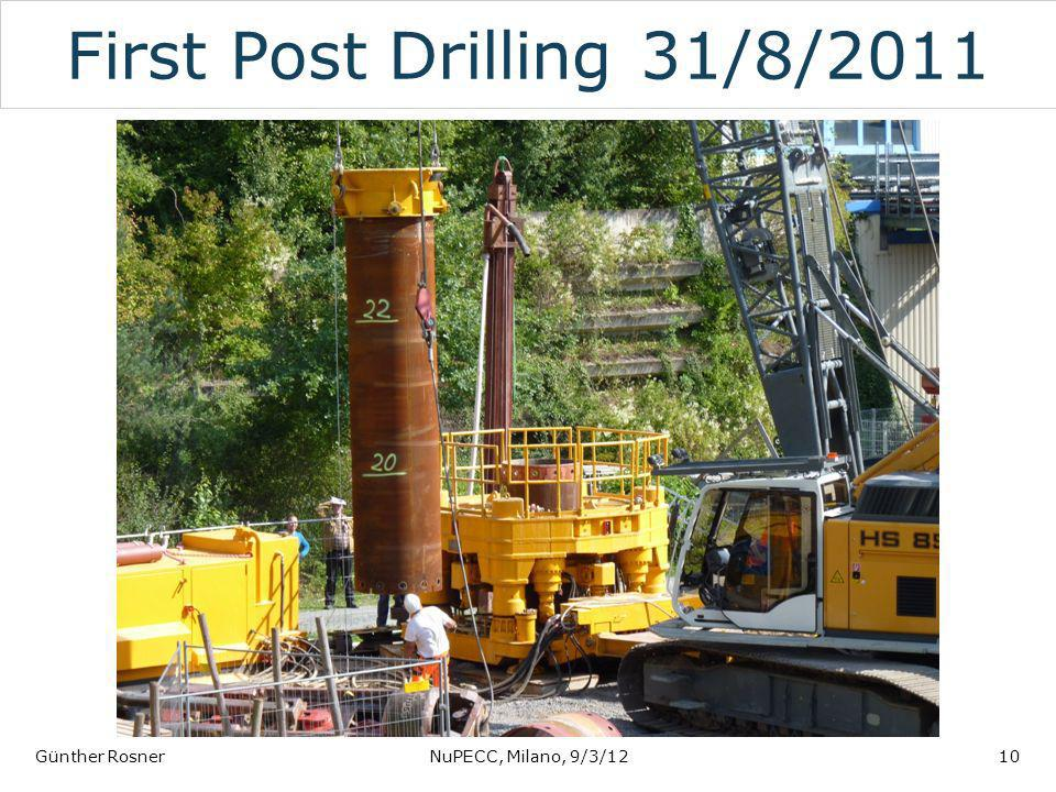 First Post Drilling 31/8/2011 Günther RosnerNuPECC, Milano, 9/3/1210