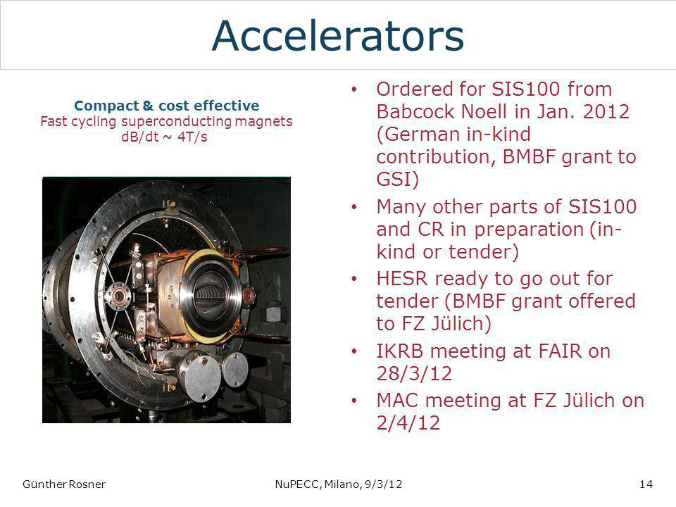 Compact & cost effective Fast cycling superconducting magnets dB/dt ~ 4T/s Accelerators Ordered for SIS100 from Babcock Noell in Jan. 2012 (German in-