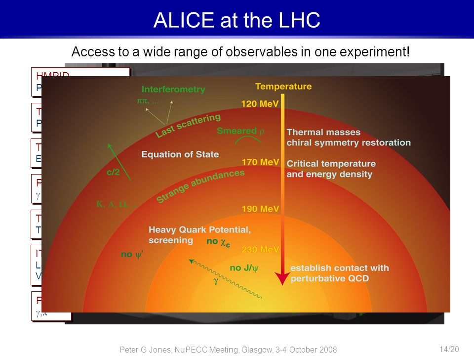 Peter G Jones, NuPECC Meeting, Glasgow, 3-4 October 2008 14/20 ALICE at the LHC Access to a wide range of observables in one experiment! ITS Low p t t