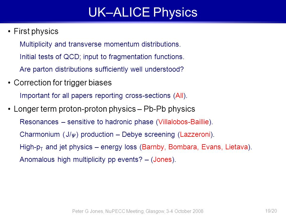 Peter G Jones, NuPECC Meeting, Glasgow, 3-4 October 2008 19/20 UK–ALICE Physics First physics Multiplicity and transverse momentum distributions. Init