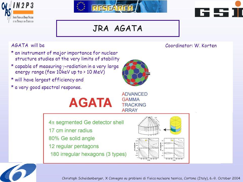 Christoph Scheidenberger, X Convegno su problemi di fisica nucleare teorica, Cortona (Italy), 6.-9. October 2004 JRA AGATA AGATA will be * an instrume