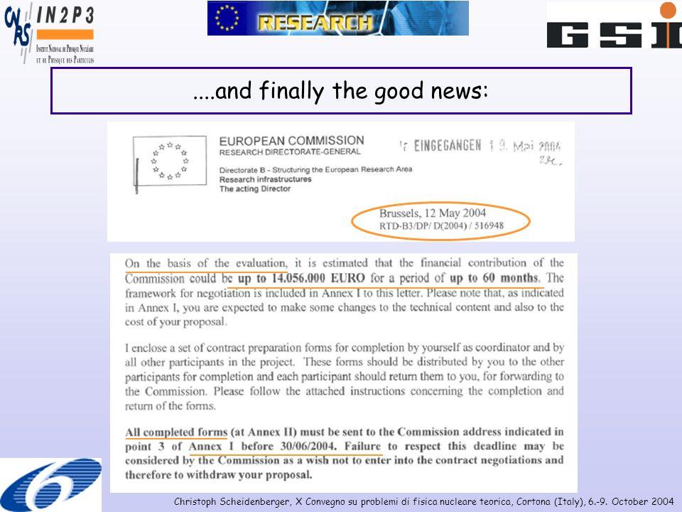 Christoph Scheidenberger, X Convegno su problemi di fisica nucleare teorica, Cortona (Italy), 6.-9. October 2004....and finally the good news:
